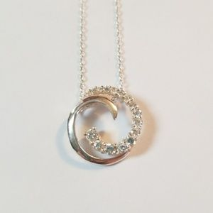 White Diamond Double Wave Sterling Silver Necklace